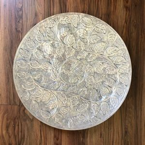 Large Round Silver Leaf Etched Metal Wall Decor
